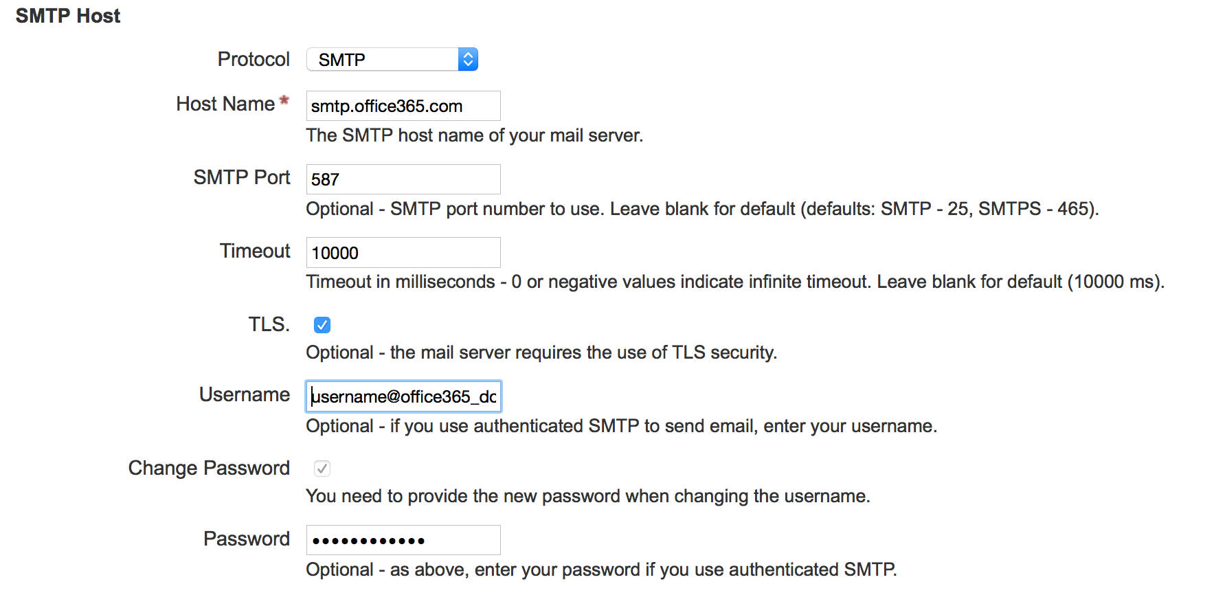 Office365 SMTP configuration receives authentication errors