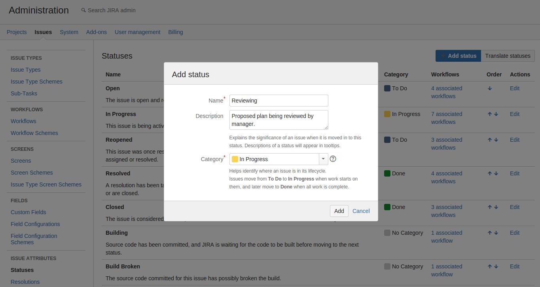 define new status or steps in jira workflow atlassian documentation