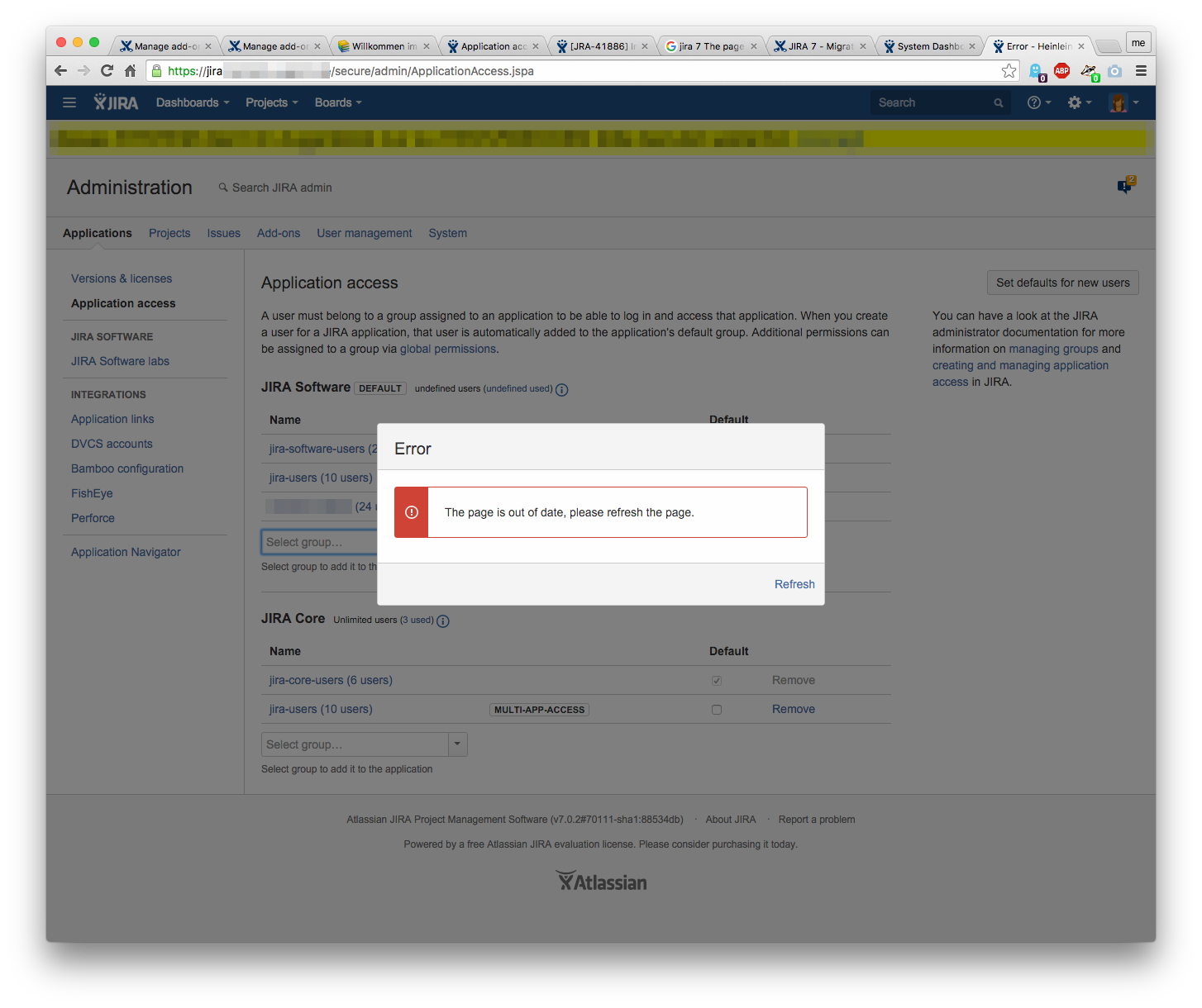 Error when managing application access in JIRA: The page is out of