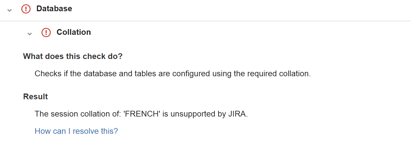 Health Check: The session collation is unsupported by JIRA