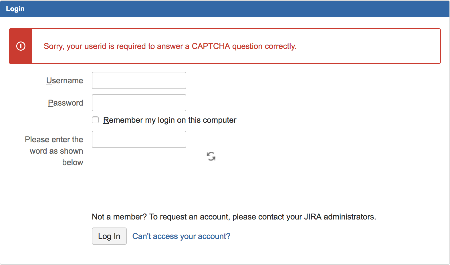 JIRA UI shows unreadable text or nothing on CAPTCHA and some