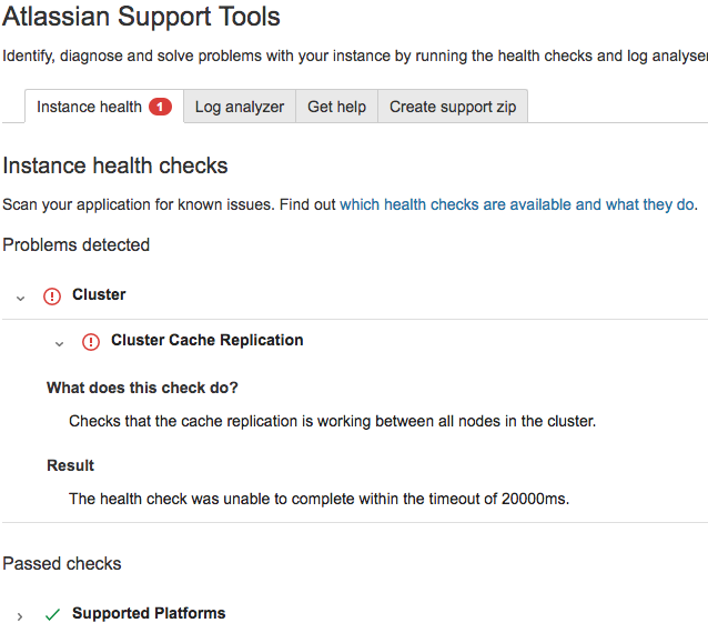 Cluster Cache Replication HealthCheck fails due to unable to