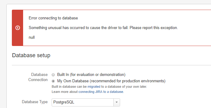 Unable to connect to database with SSL enabled during Jira