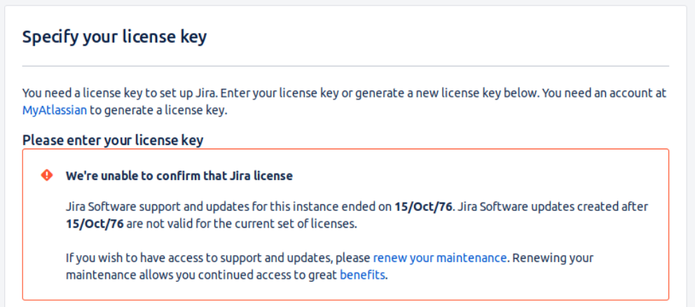 We're unable to confirm that Jira license error during JIRA
