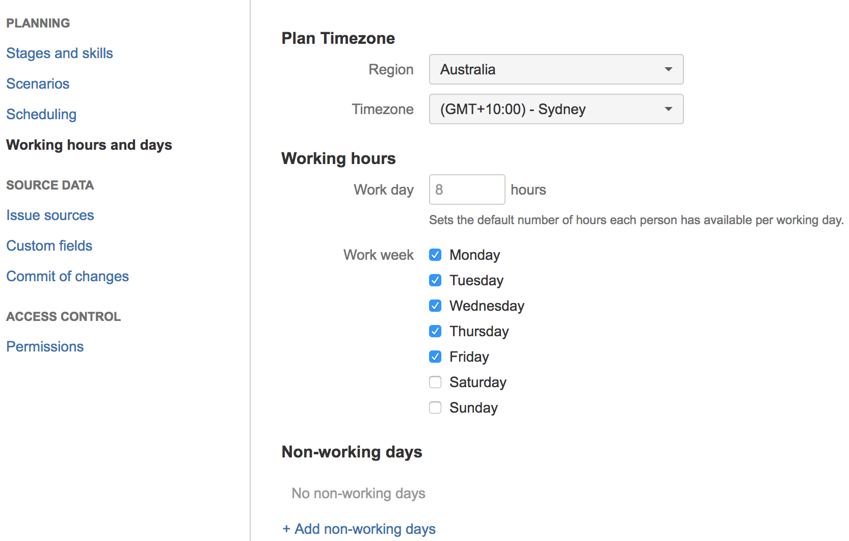 configuring working hours and days atlassian documentation