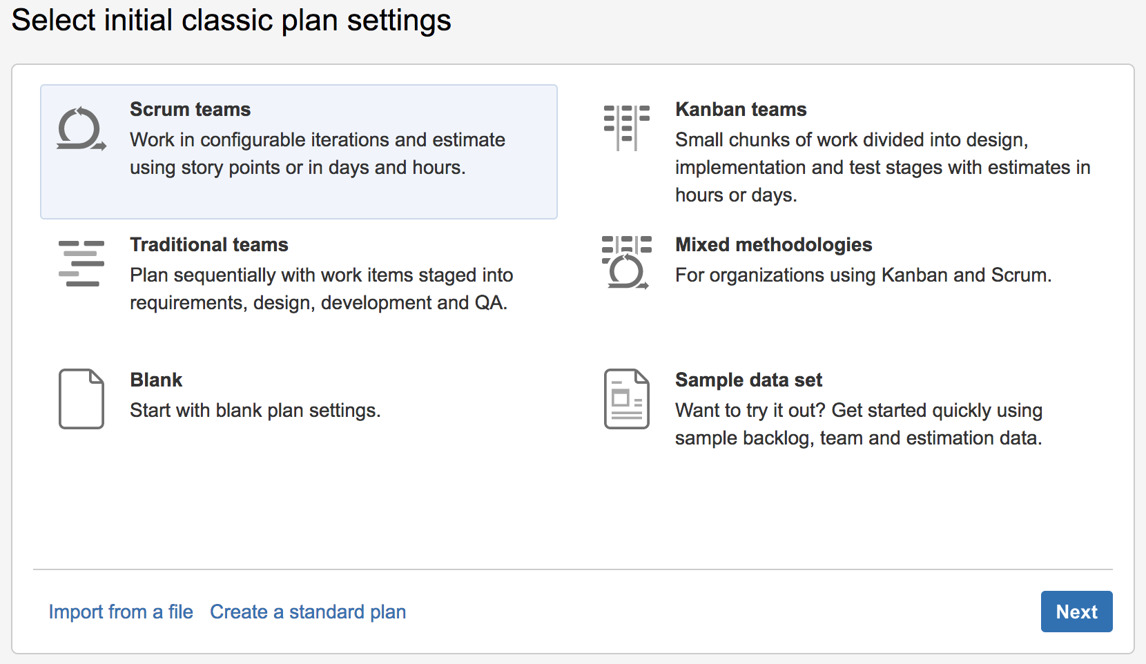 Select The Classic Plan Template That Suits How Your Team Works And Then Click Next