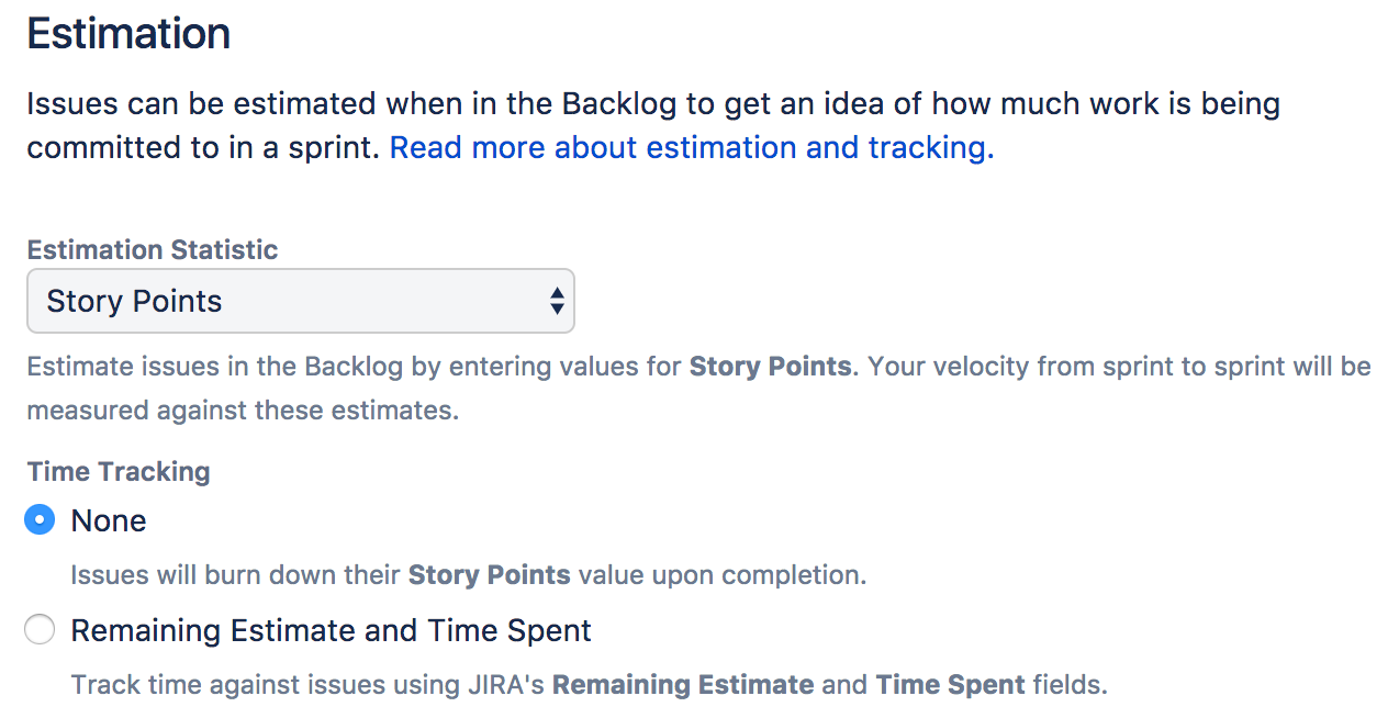 Configuring estimation and tracking - Atlassian Documentation
