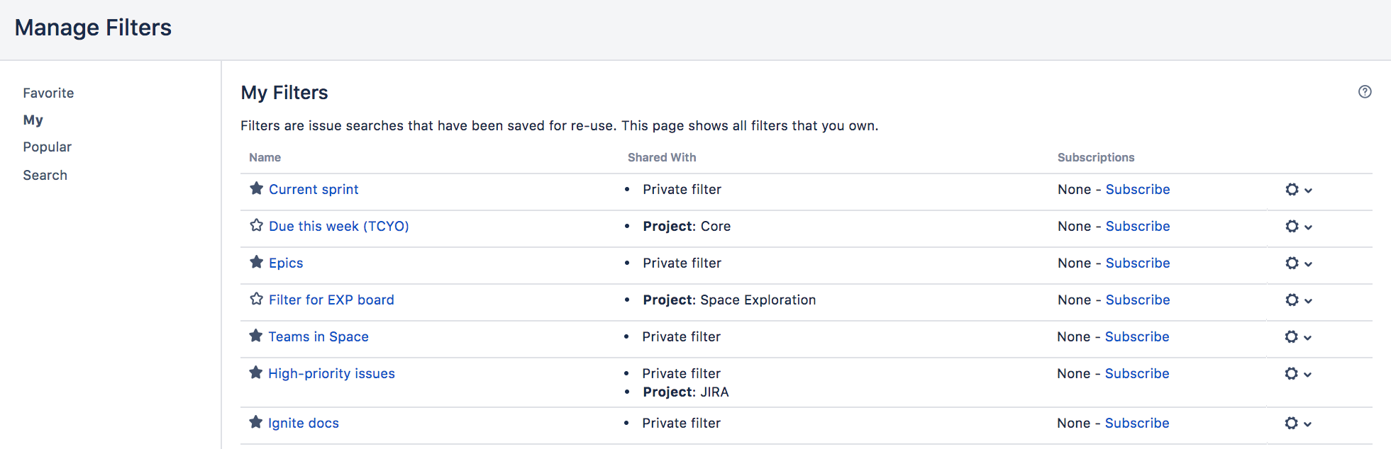 Manage filters page, with a list of saved filters.