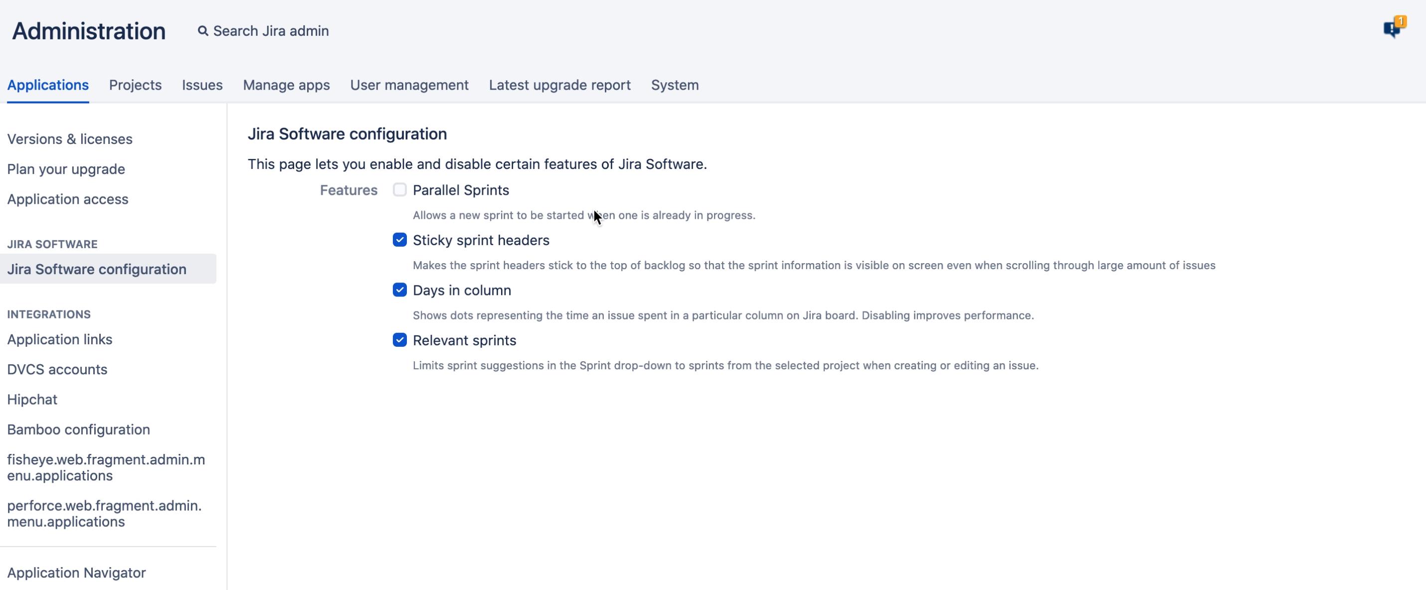 管理コンソールの Jira Software 設定。