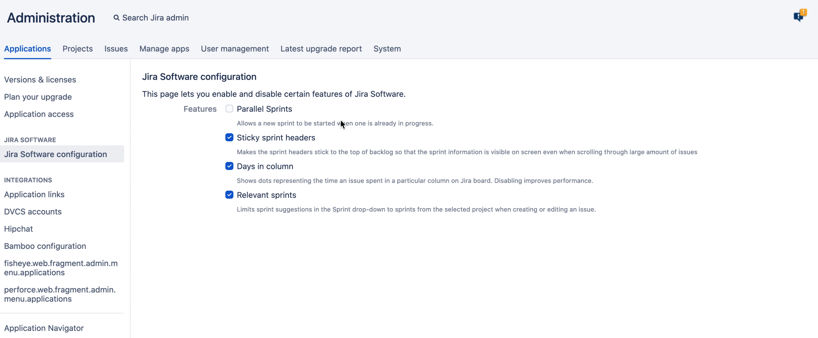 Jira Software configuration in the administration console.