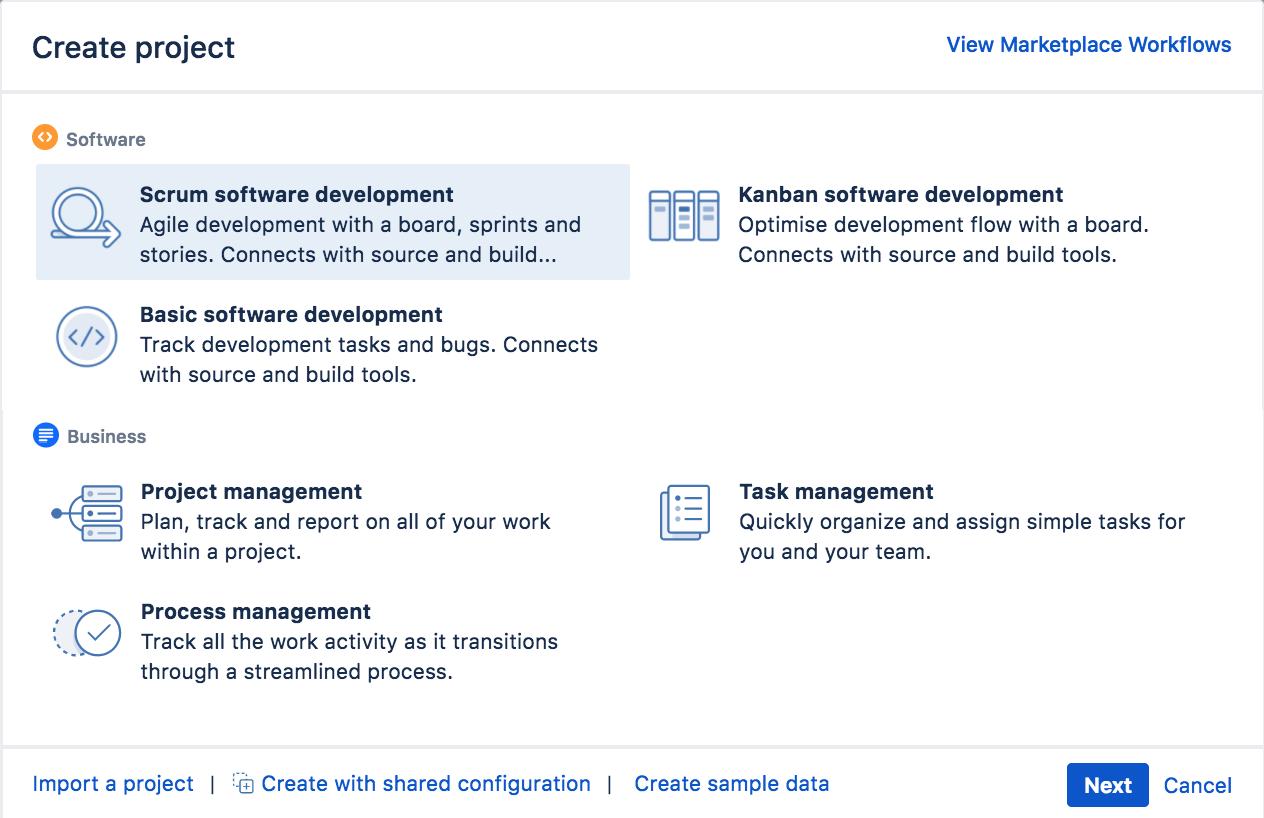 [スクラム ソフトウェア開発] プロジェクトが選択されている [プロジェクトの作成] ダイアログ。