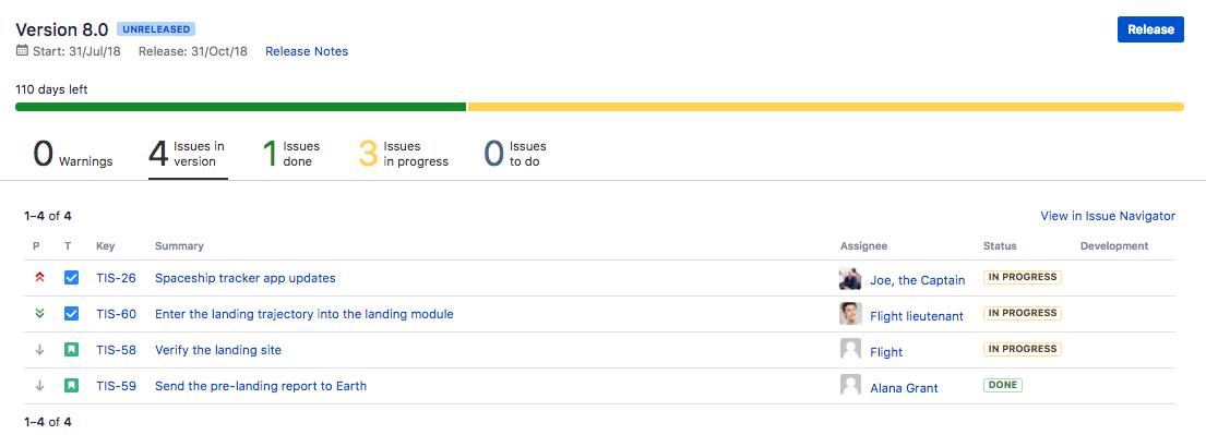 リリースの一覧が表示されたリリース ページ。
