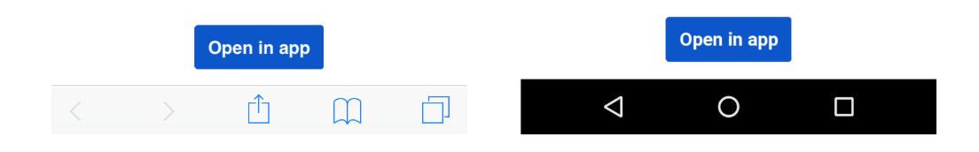 [アプリで開く] ボタン。