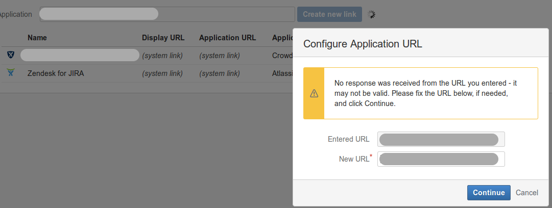 Error message: peer not authenticated when creating Application Link