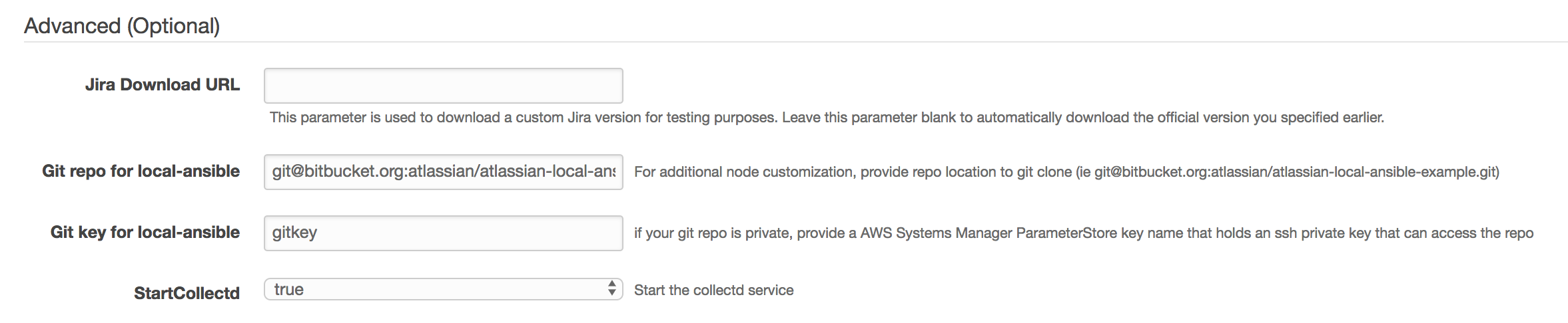 Aws cloudformation templates using ansible atlassian documentation you should fork the atlassian local ansible exmaple repo and modify it to suit your needs maxwellsz