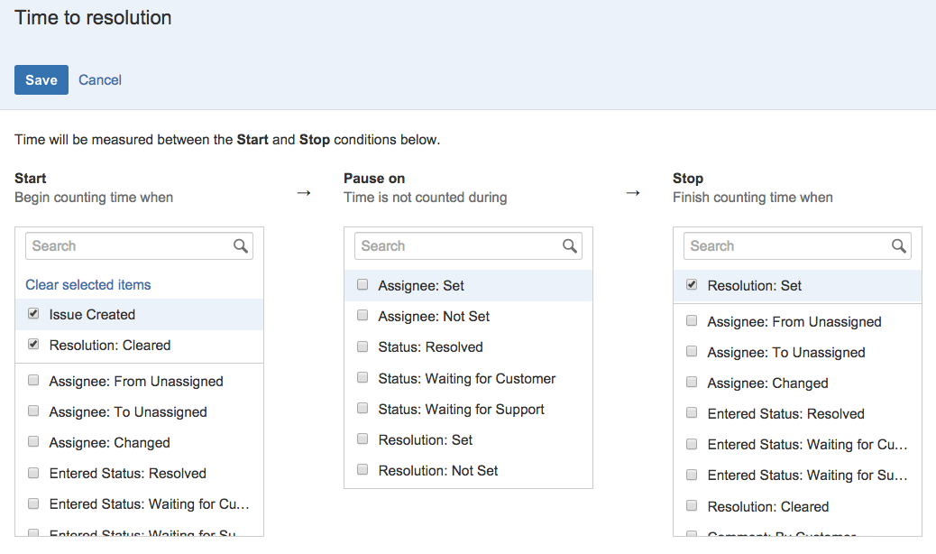 Setting up slas atlassian documentation notice that you can set multiple conditions for the start stop and pause time check out example creating an sla with multiple cycles for an in depth pronofoot35fo Image collections