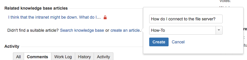 Serving customers with a knowledge base atlassian documentation if you dont see a relevant article you can create a new one from the issue ccuart Images