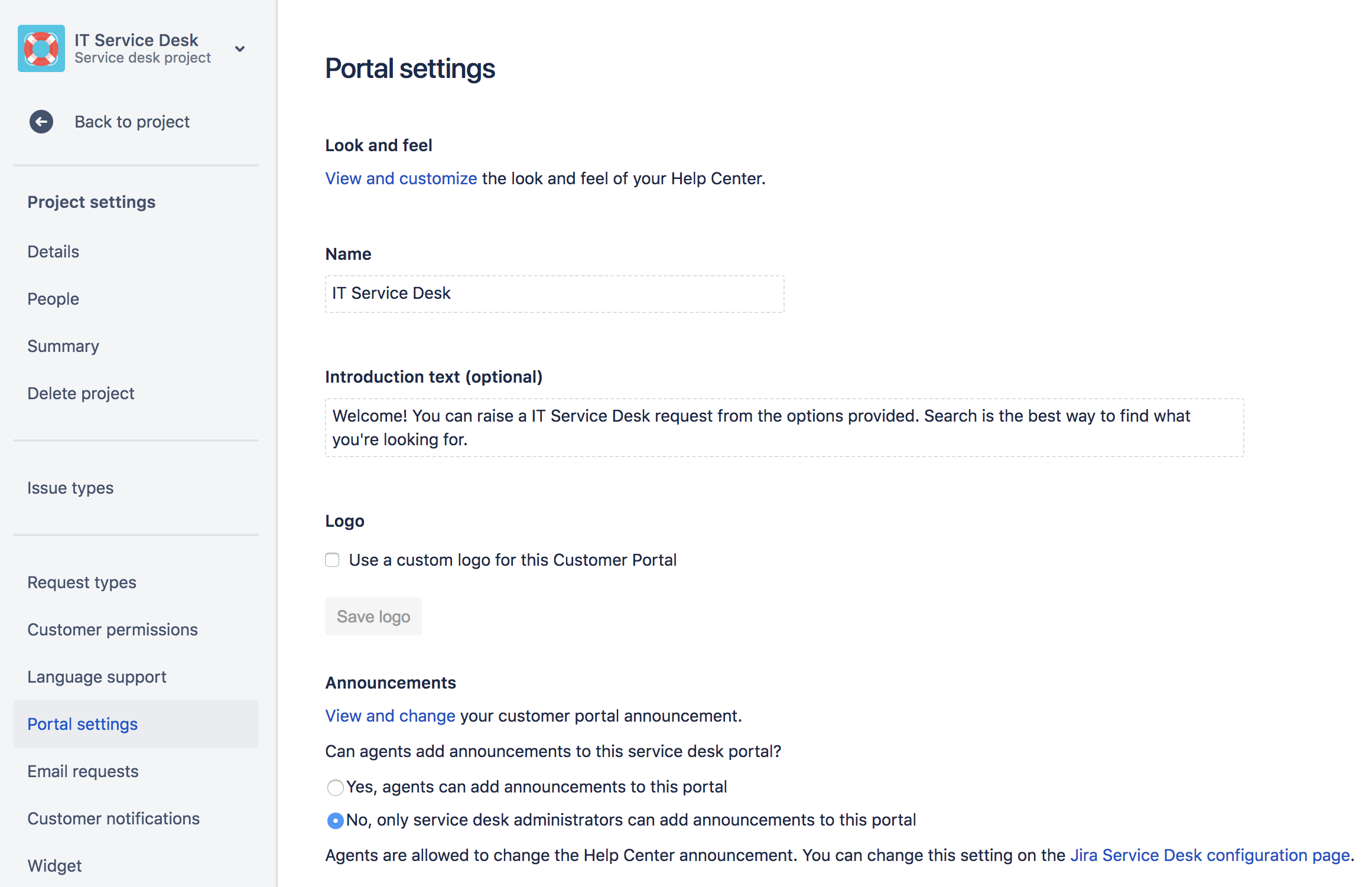 Configuring The Customer Portal Atlassian Documentation This Is Basic Configuration Put In Switch A If You Have Only 1 Add Logo And Short Description Your Also Appears Notifications