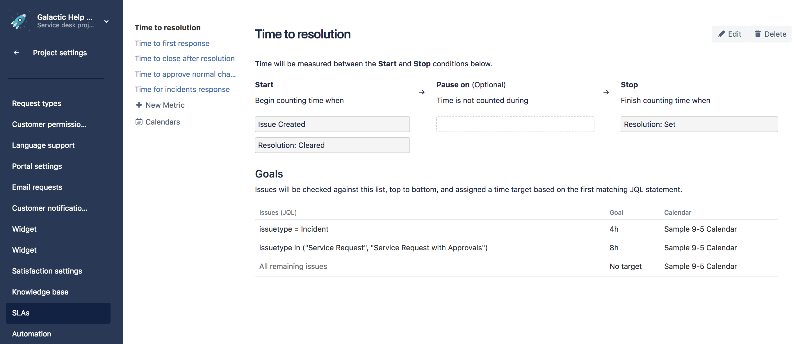 this example looks at how you might create a very basic sla for an it service desk project