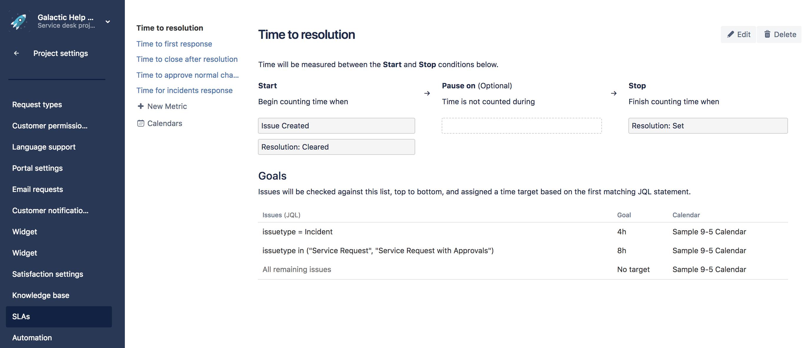 example creating a basic sla atlassian documentation