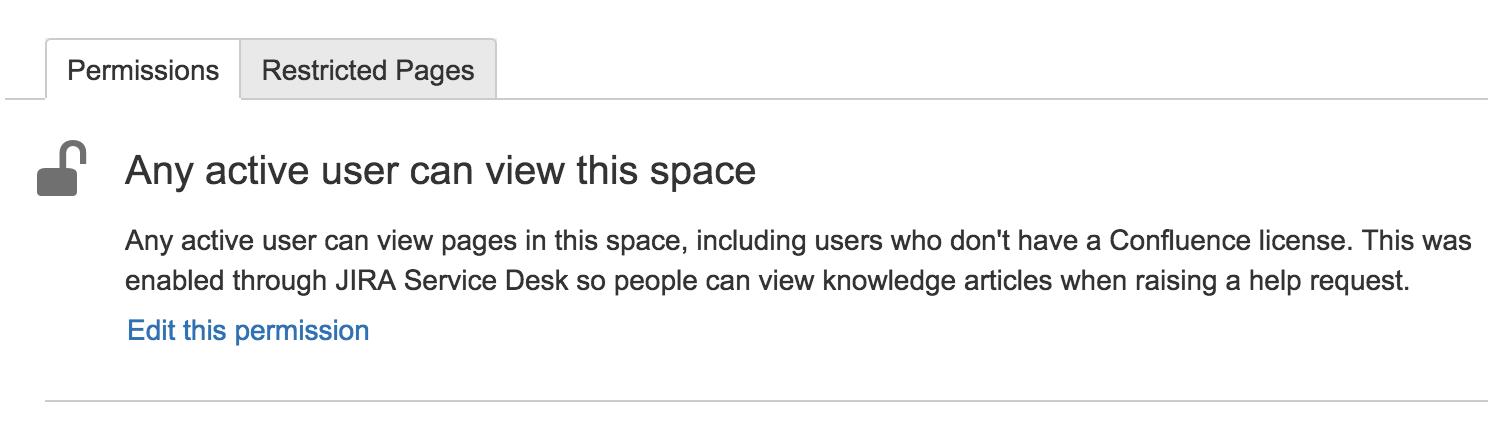 [権限] タブ。説明には、すべてのアクティブなユーザーがこのスペースを表示できる旨が記載されています。