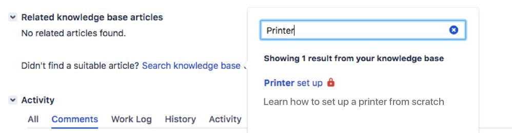 課題の関連ナレッジベース記事セクション。モーダルを使用してナレッジベース記事を検索し、課題に関連付けることができます。