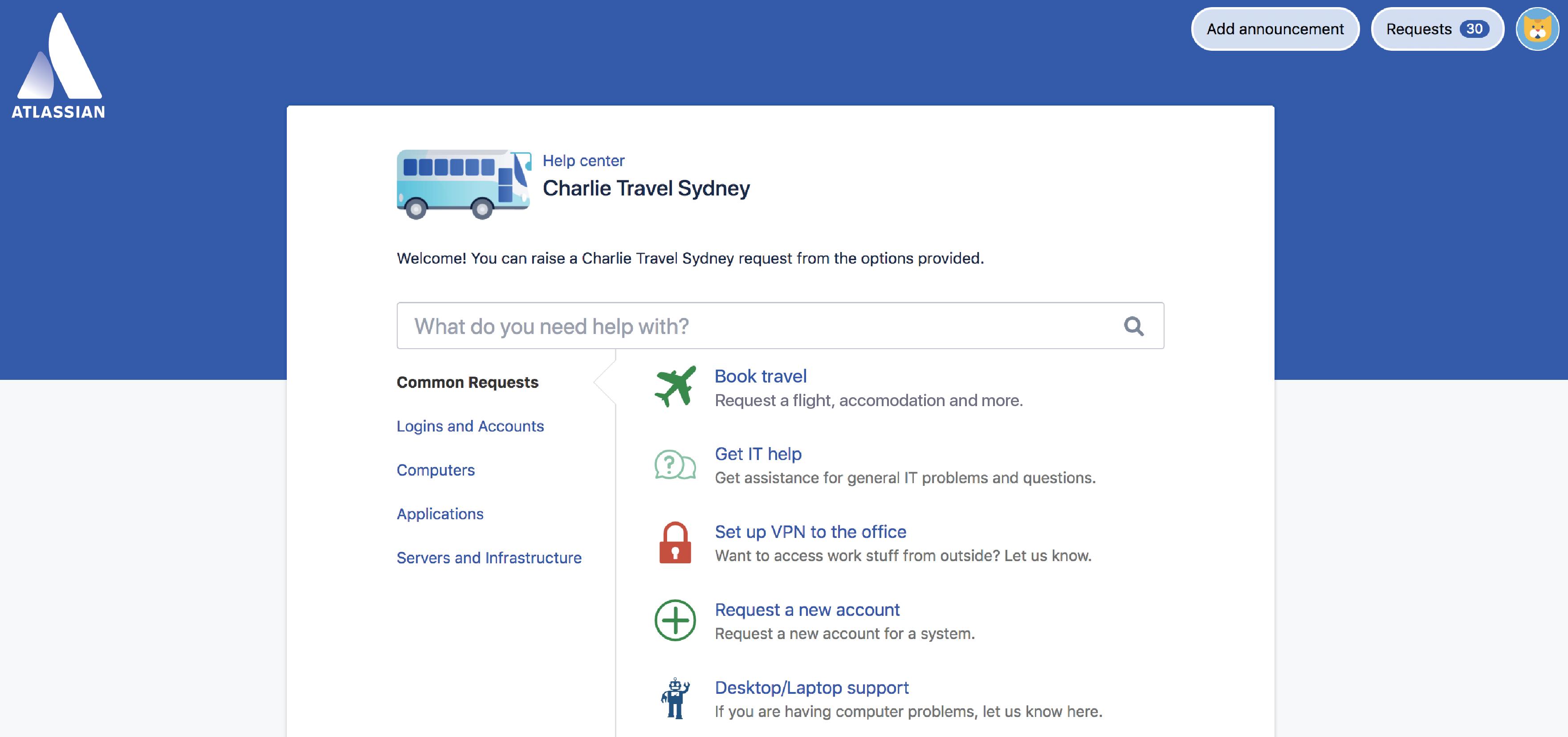Charlie Travel Sydney プロジェクトのカスタマー ポータル。