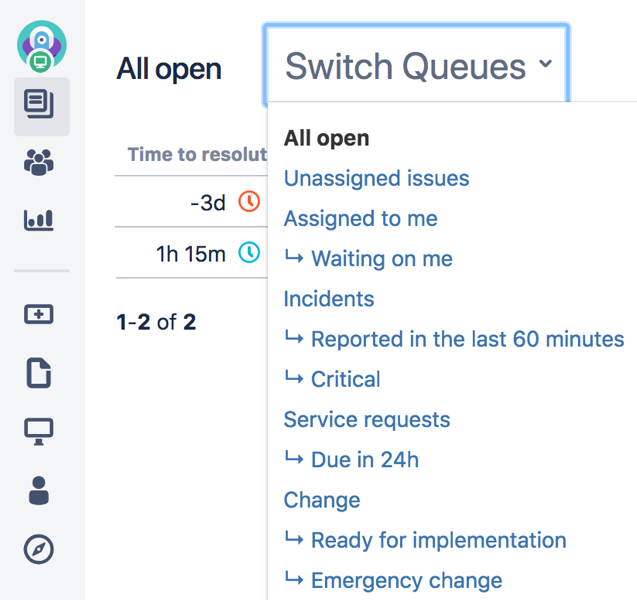 Switch Queues drop-down menu with a list of queues.