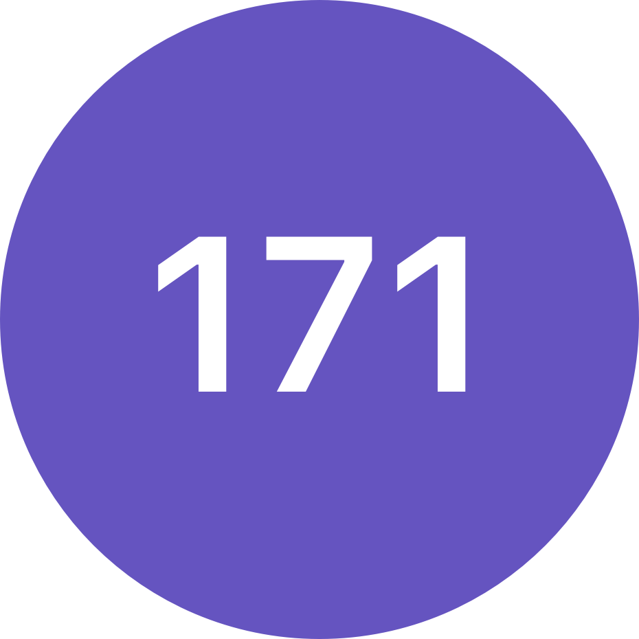 The number 171 in a purple circle