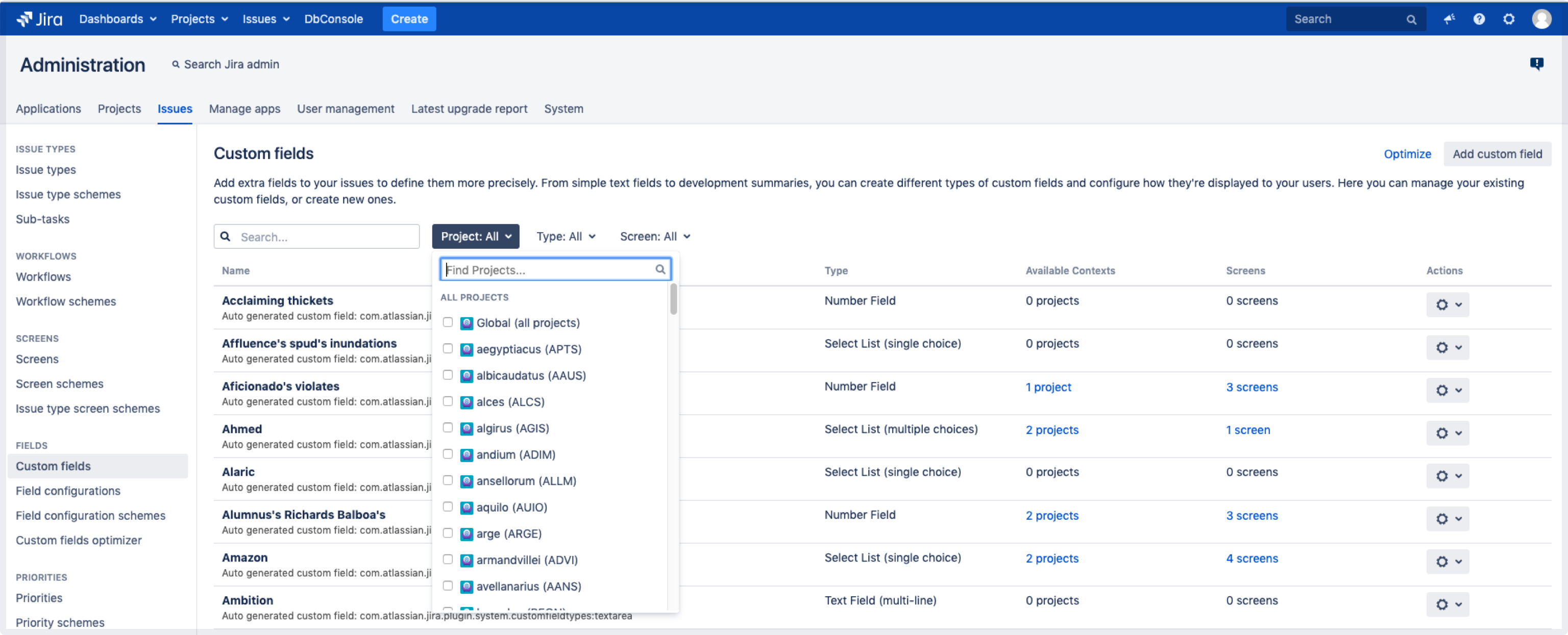 Custom field screen in Jira with search for custom fields by projects filter open