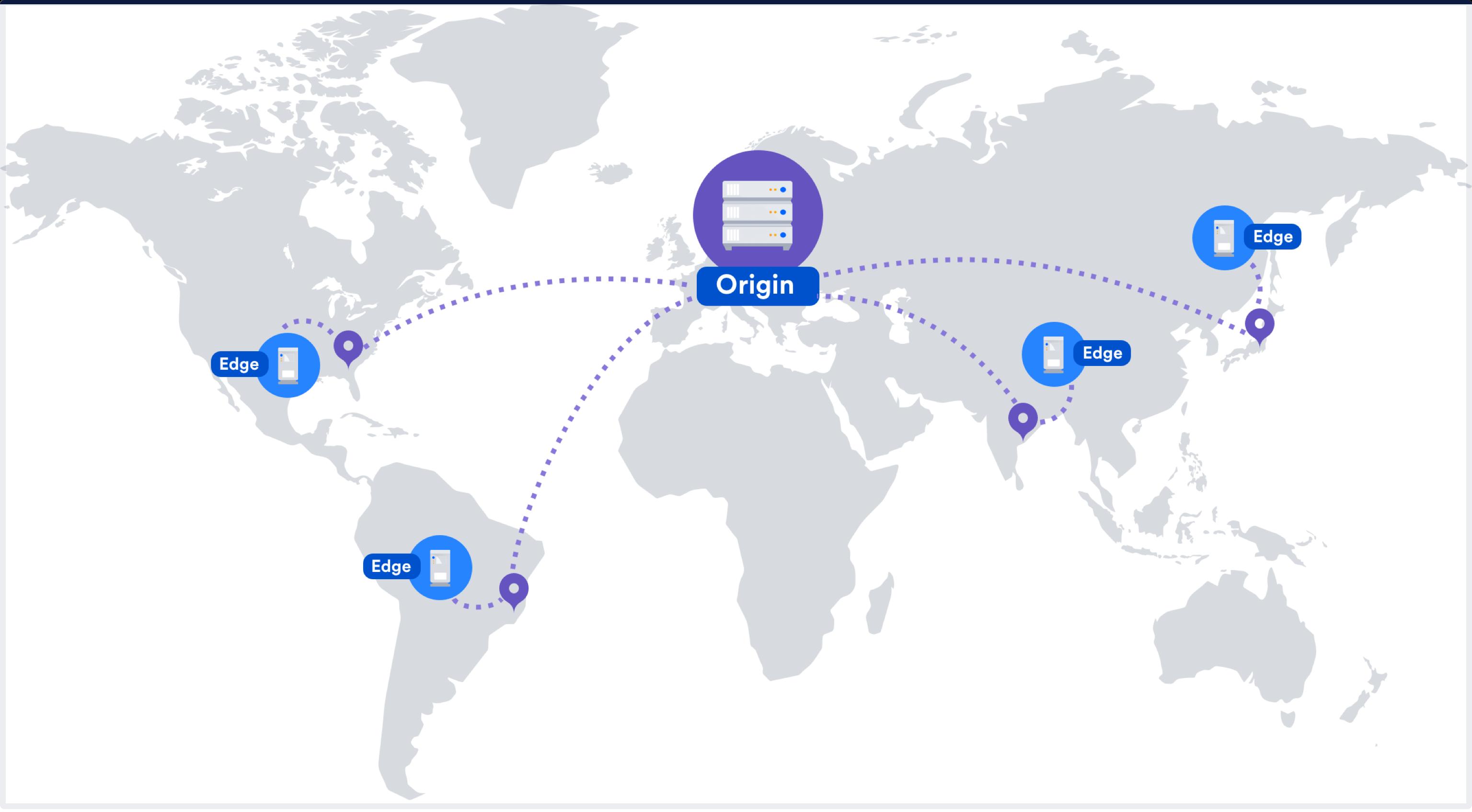 cdn ネットワークを示す世界地図