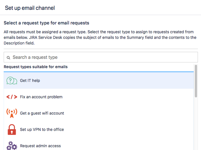 List of request types that you can assign to your email channel.