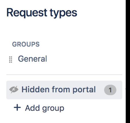 リクエスト タイプ ページでのグループの例 (General)