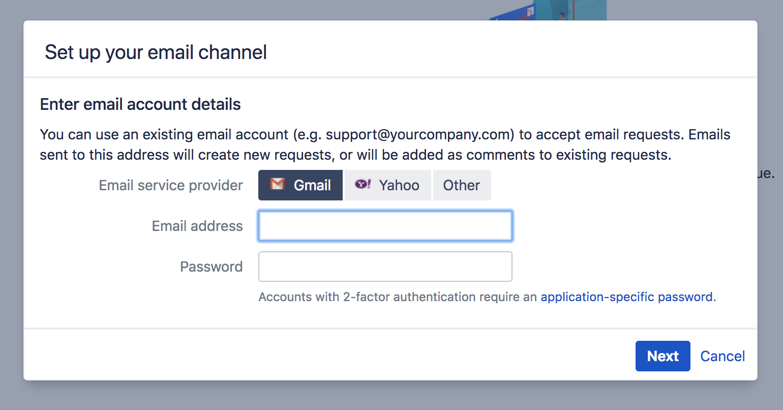 メール チャネルのセットアップ ページ。メール サービス プロバイダー、メール アドレス、およびパスワードのフィールドが空で表示されています。