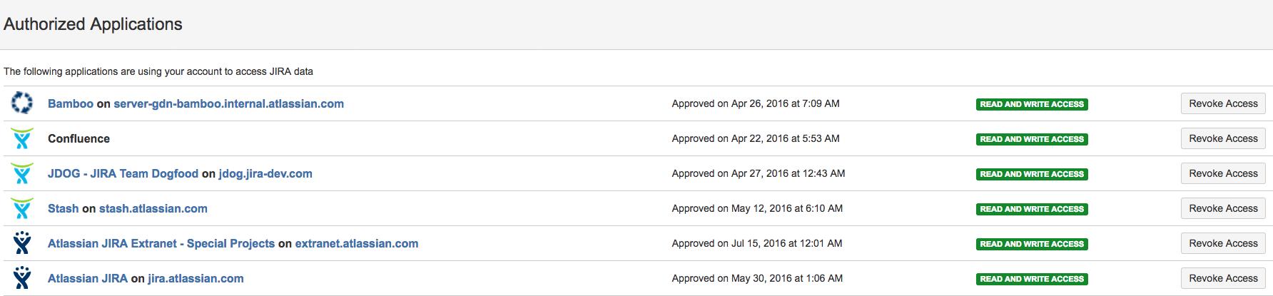 認証済みアプリケーションの一覧。