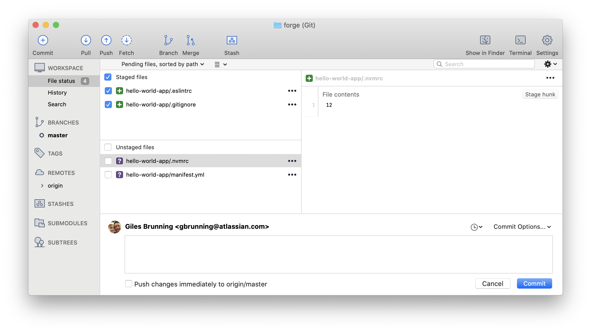 Sourcetree Unstaged Files