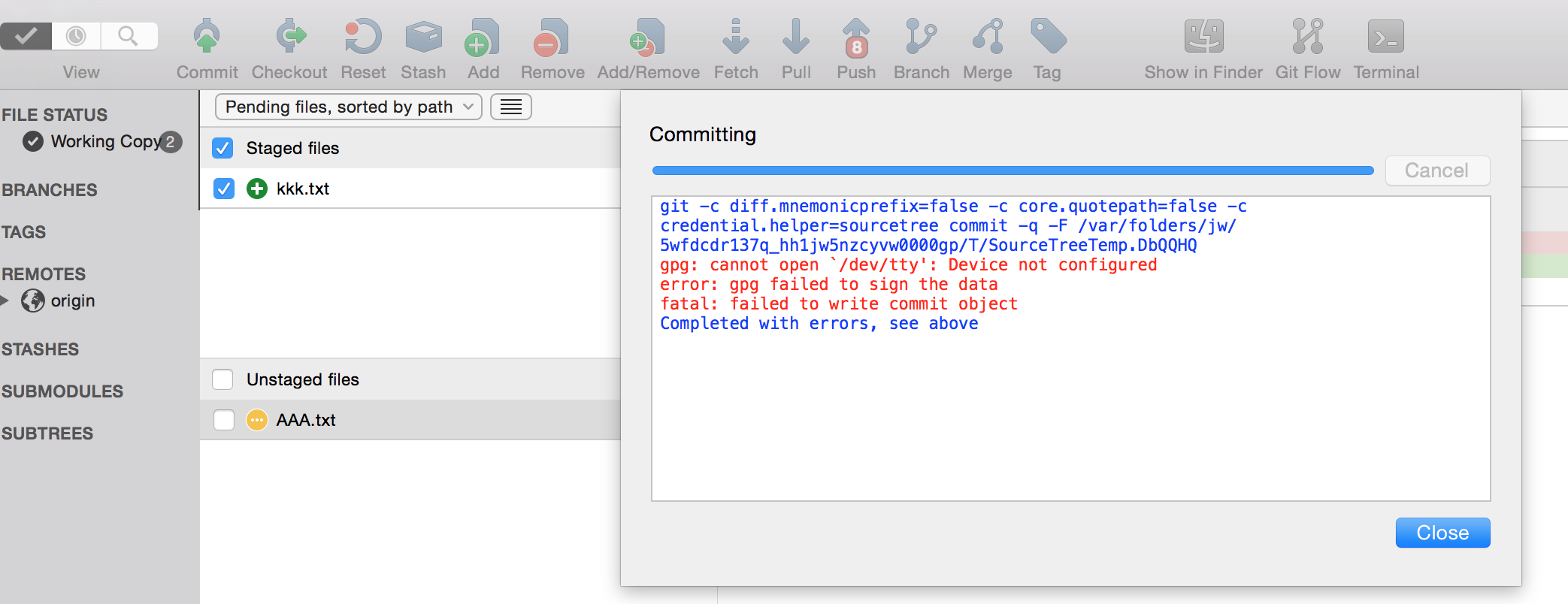 SourceTree commits fail when using Git signed commits - Atlassian