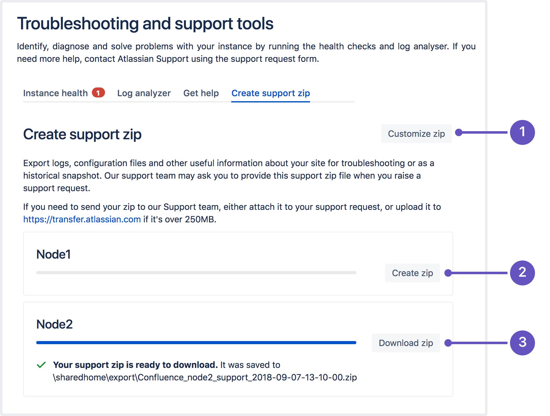 Create a Support Zip - Atlassian Documentation