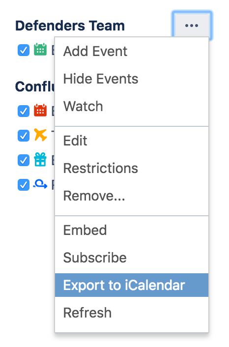 Export Team Calendars Content to Other Calendars - Atlassian