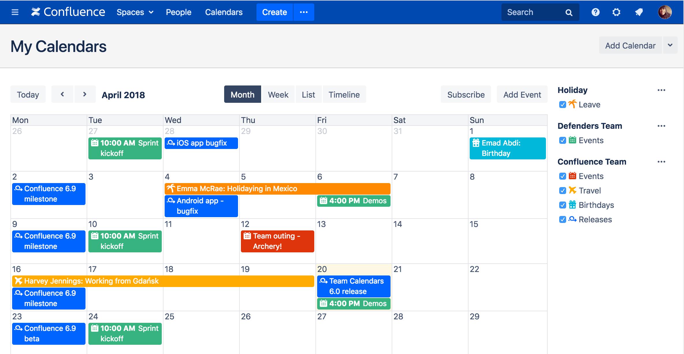 team calendars quick tour atlassian documentation
