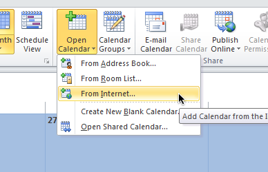 Subscribe to Team Calendars from Microsoft Outlook