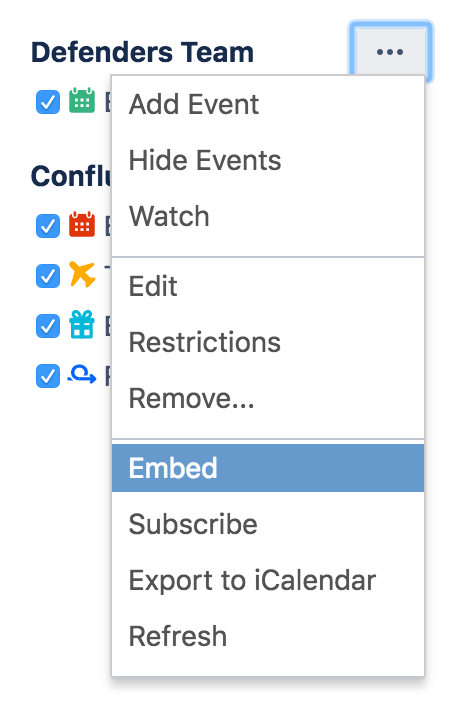 Embed Calendars on Confluence Pages - Atlassian Documentation