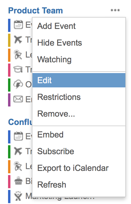 calendars to edit