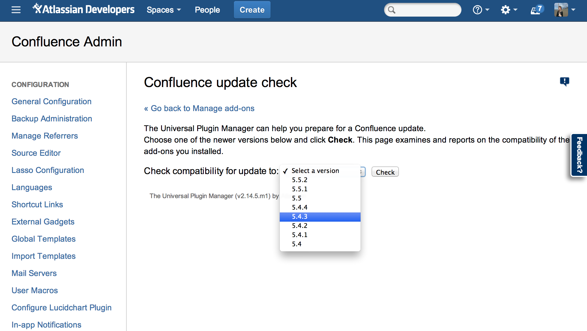 Confluence Update check