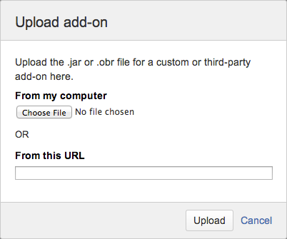 Upload add-on dialog