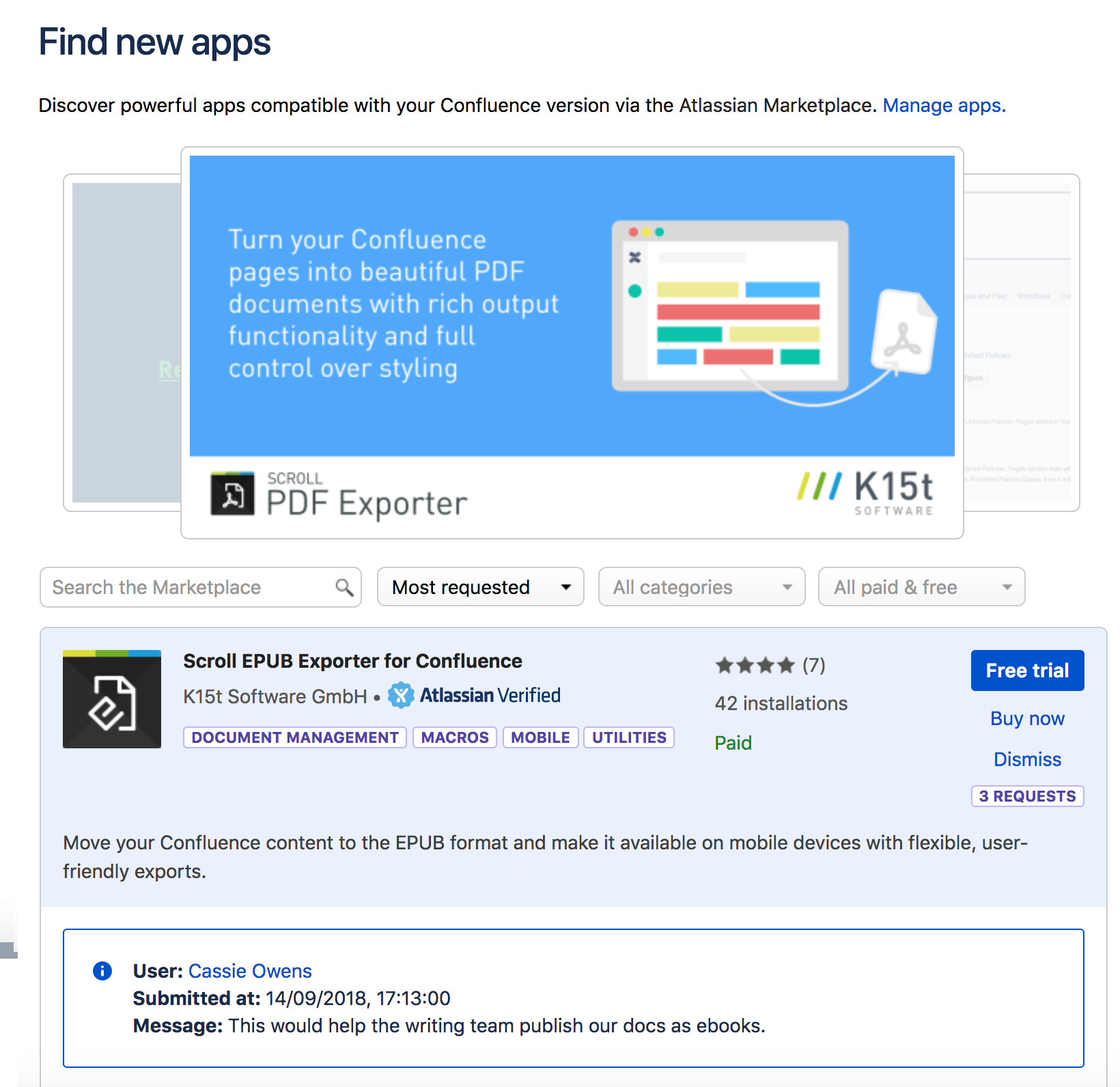 managing user requests for marketplace apps atlassian documentation